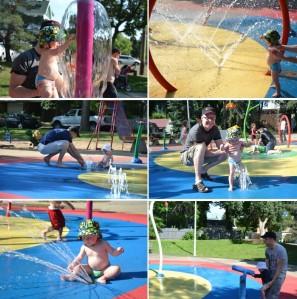 Spray Park... notre endroit préféré.Le quartier où on vit est génial !