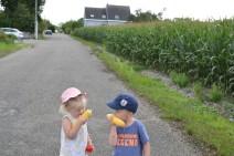Nathan et Victoria goûtent le maïs..