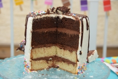 Gâteau glace renversée - Coupe médiane
